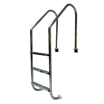 Лестница 2 ступ. с накладкой люкс, нерж. AISI-304 (широкий борт), POOL KING L202