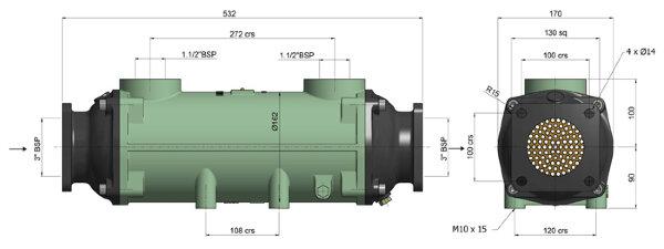 Теплообменник BOWMAN 300кВт, трубки купроникель