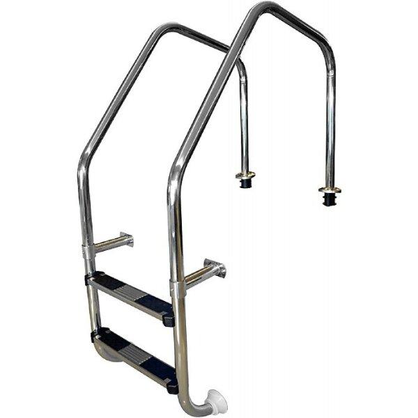 Лестница перелив. желоба 2 ступ. с накладкой люкс, нерж. AISI-304, POOL KING ML202