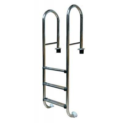 Лестница усиленная 2 ступ. с накладкой люкс, нерж. AISI-304 (узкий борт) POOL KING, MRO202