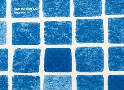 "Пленка ПВХ 1,65х10,00м ""Haogenplast Print"", Pacific, мозаика синяя, ребристая"
