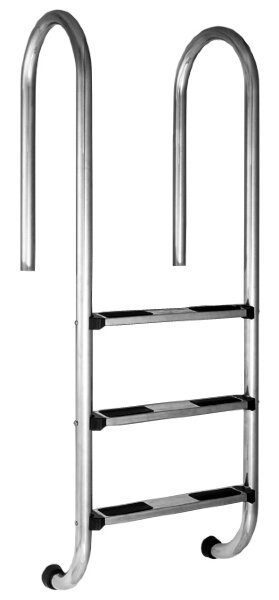 Лестница MURO 4 ступ. с накладкой люкс, нерж. AISI-304 (узкий борт), FIBERPOOL