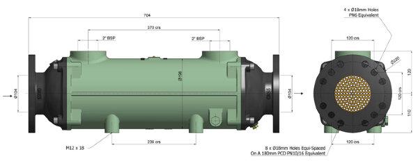 Теплообменник BOWMAN  556 кВт, трубки купроникель