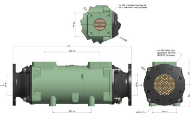 Теплообменник BOWMAN  780 кВт трубки купроникель